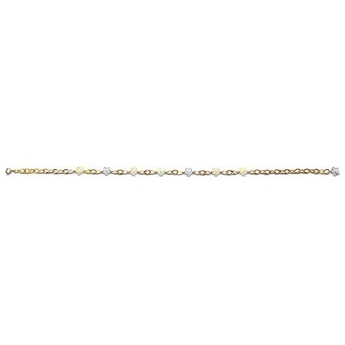 14K Gold Fancy Flower Anklet