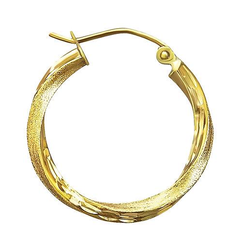 14K Gold 2.2GR Fancy Diamond Cut Hoop Earrings