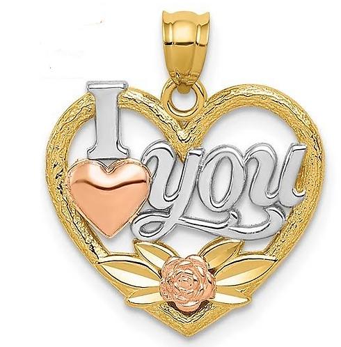 14K Gold Heart I Love You Pendant