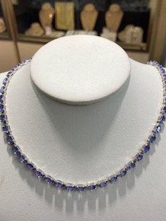 Sterling Silver 24ctw genuine Tanzanite Necklace