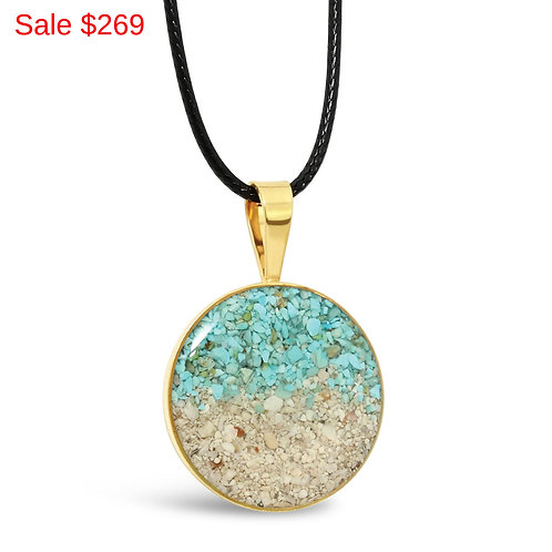 Gold Plated Sterling Silver Pink Sand and Turquoise Gradient Circle Pendant