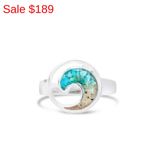 Sterling Silver Pink Sand and Turquoise Gradient Wave Ring