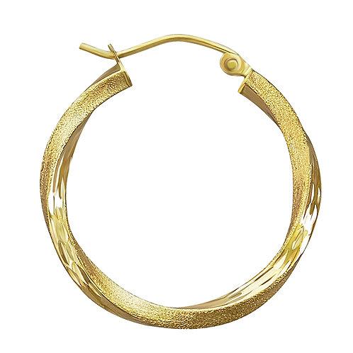 14K Gold 1.8GR Fancy Diamond Cut Hoop Earrings