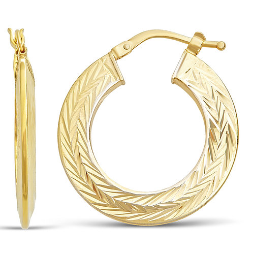 14K Gold 3.0GR Fancy Hoop Earrings