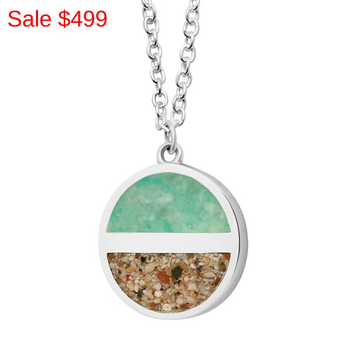 Sterling Silver Pink Sand and Turquoise Horizon Necklace