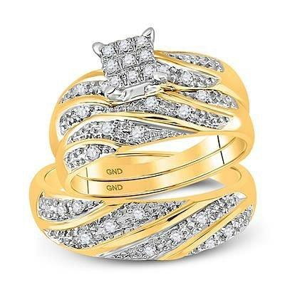 14K Gold & Diamonds - Bridal Duo Ring Set
