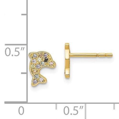 14k Gold CZ Dolphin Children's Earrings 3