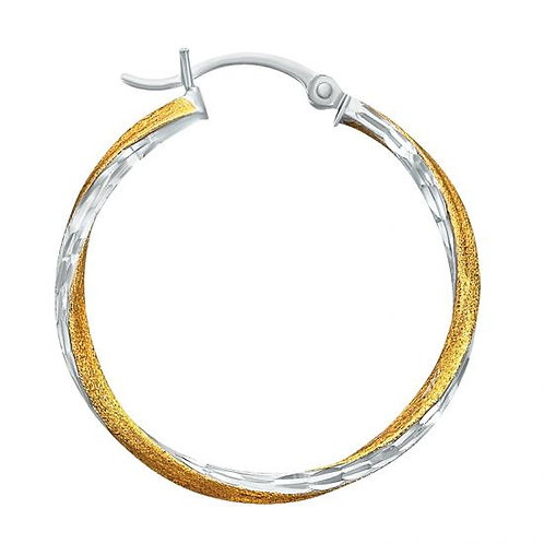 14K Gold 2.5GR Two Tone Twisted Hoop Earrings