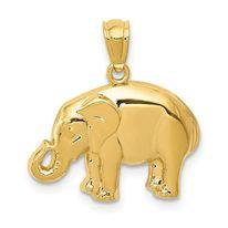 14K Gold Classic Elephant Charm/Pendant