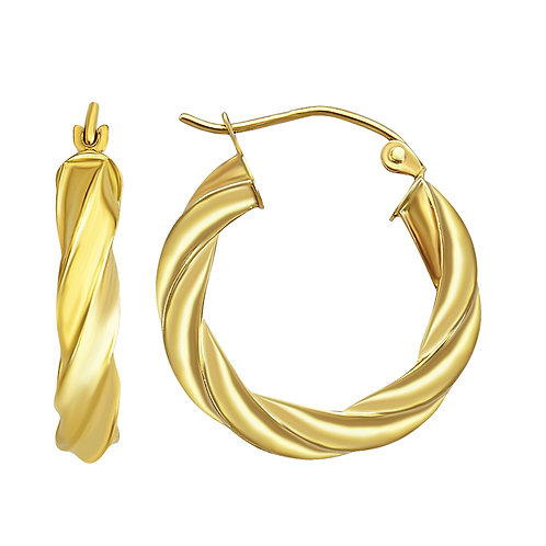 14K Gold Twisted Hoop Earrings 20MM