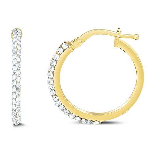 14K Gold Medium Hoop With Swarovski Crystal