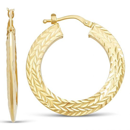 14K Gold 3.4GR Fancy Hoop Diamond Cut Earring