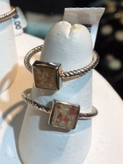 Sterling Silver Stackable Bermuda Pink Sand Square Ring
