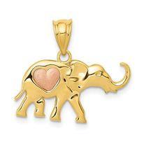 14K Gold Elephant & Heart 2 Charm/Pendant