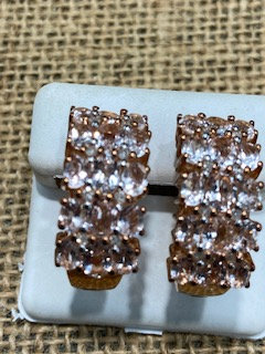 Pink Silver Morganite Huggie Earrings