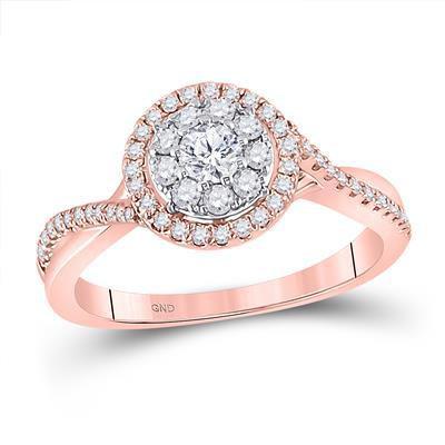 Rose Gold & Diamond Round Ring