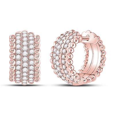 14K Rose Gold .75ctw Diamond Huggie Earrings