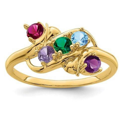 14K Gold Five Stone Mothers Ring