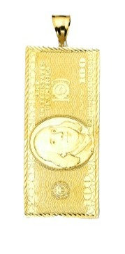 10K Gold 100 Dollar Note Pendant