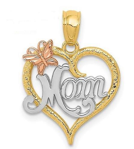 14K Gold Heart Mom Pendant