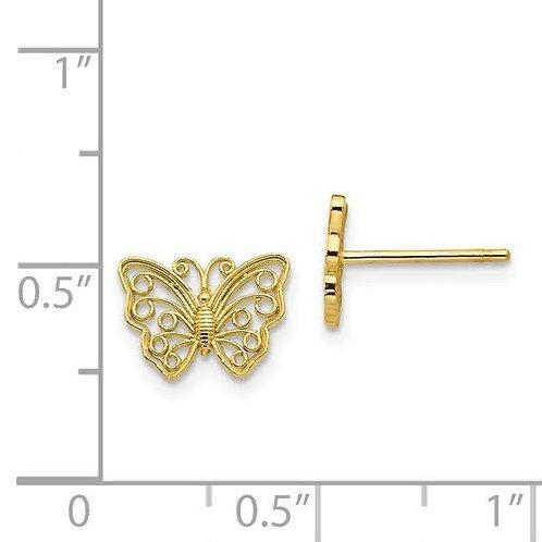 14k Gold Butterfly Earrings