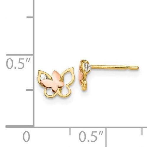 14k Gold CZ Butterfly Children's Earrings