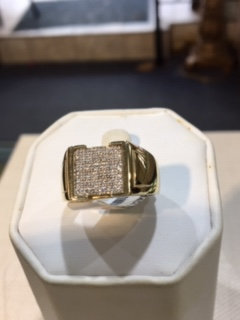 14K Gold .14ctw Diamonds Men's Square Ring