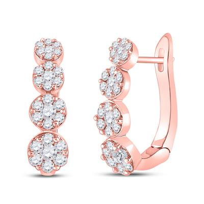 14K Rose Gold 1.50ctw Diamond Four Tiered Earrings
