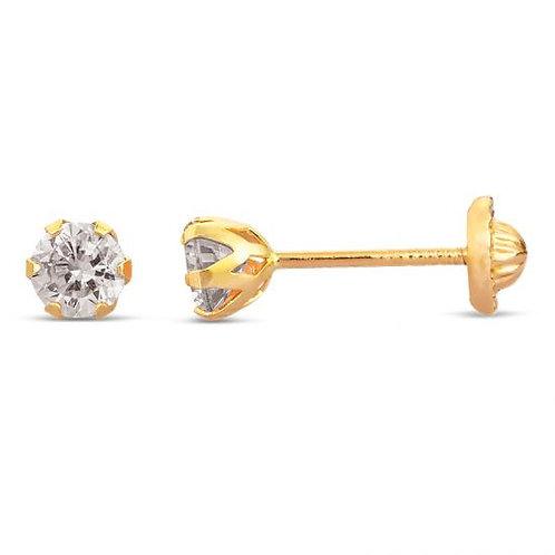 14K Gold 4MM Cubic Zirconia Screw back Stud Earrings