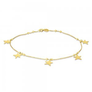 14K Gold Anklet Dangling High Polish Stars