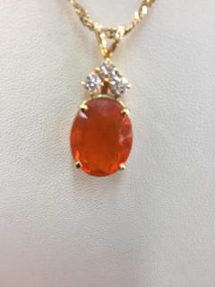 14K Gold 11ct Fire Opal .36ctw Diamond Pendant