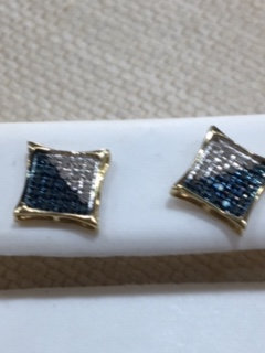 10K Gold .10ctw White and Blue Diamond Earrings