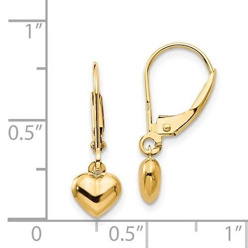 14k Gold Heart Drop Earrings
