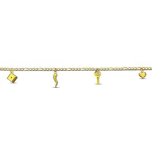 14K Gold Key, Dice, Heart Anklet