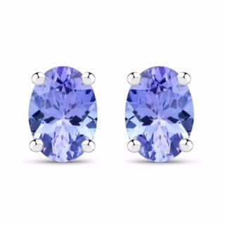 Sterling Silver 1.60ctw Tanzanite Earrings