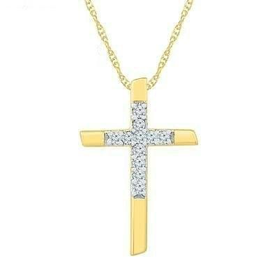 10K Gold .08ctw Diamond Cross Necklace
