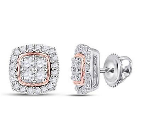 Rose Gold & Diamond Square Earrings