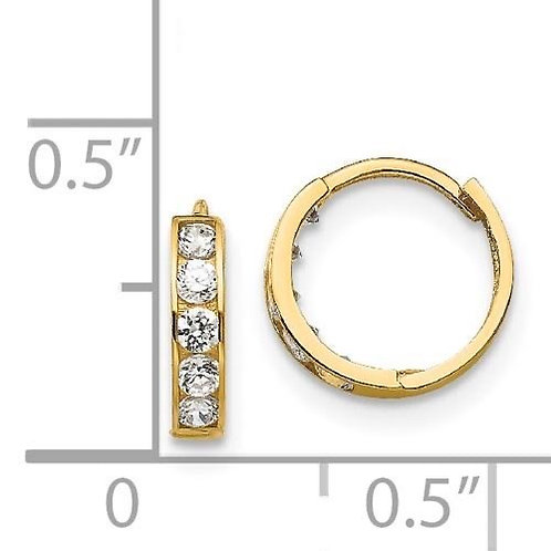 14k Gold CZ Children's Hoop Earrings