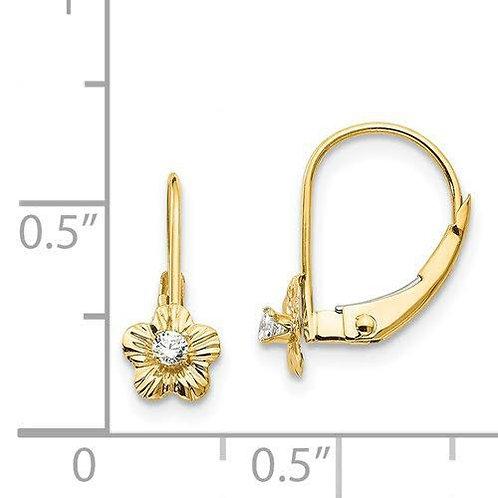 14k Gold CZ Flower Earrings