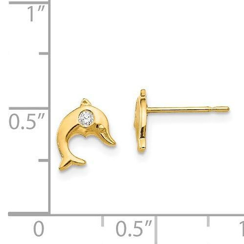 14k Gold CZ Dolphin Children's Earrings 2