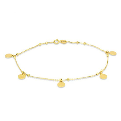 14K Gold Anklet With Dangling Disks