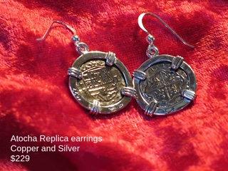 Sterling Silver Atocha Copper Replica Survivor Earrings