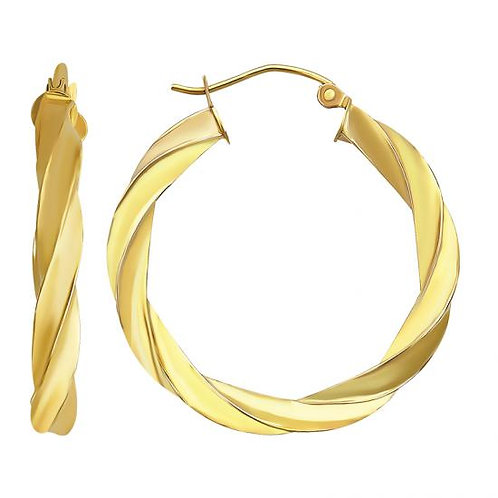 14K Gold Twisted Hoop Earrings 30MM