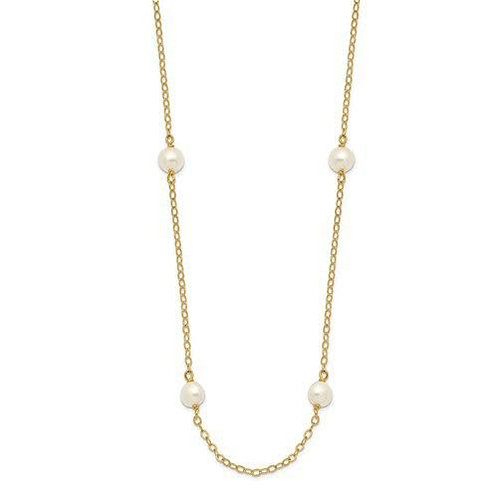 14k Gold 4-5mm Pearl Tin Cup 16 inch Necklace