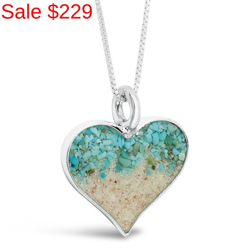 Sterling Silver Pink Sand and Turquoise Gradient Heart Necklace