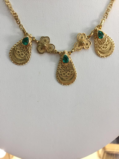 18K Gold Necklace with 1.26ctw Colombian Emeralds