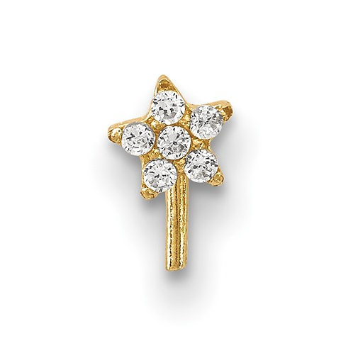 14K Gold With CZ Star Nose Stud