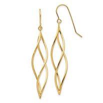 14K Gold Swirl Drop Earrings