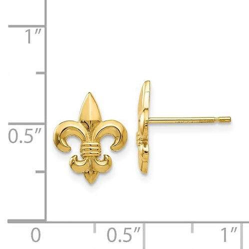 14k Gold Fleur De Lis Earrings