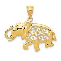 14K Gold Elephant Swirls Charm/Pendant